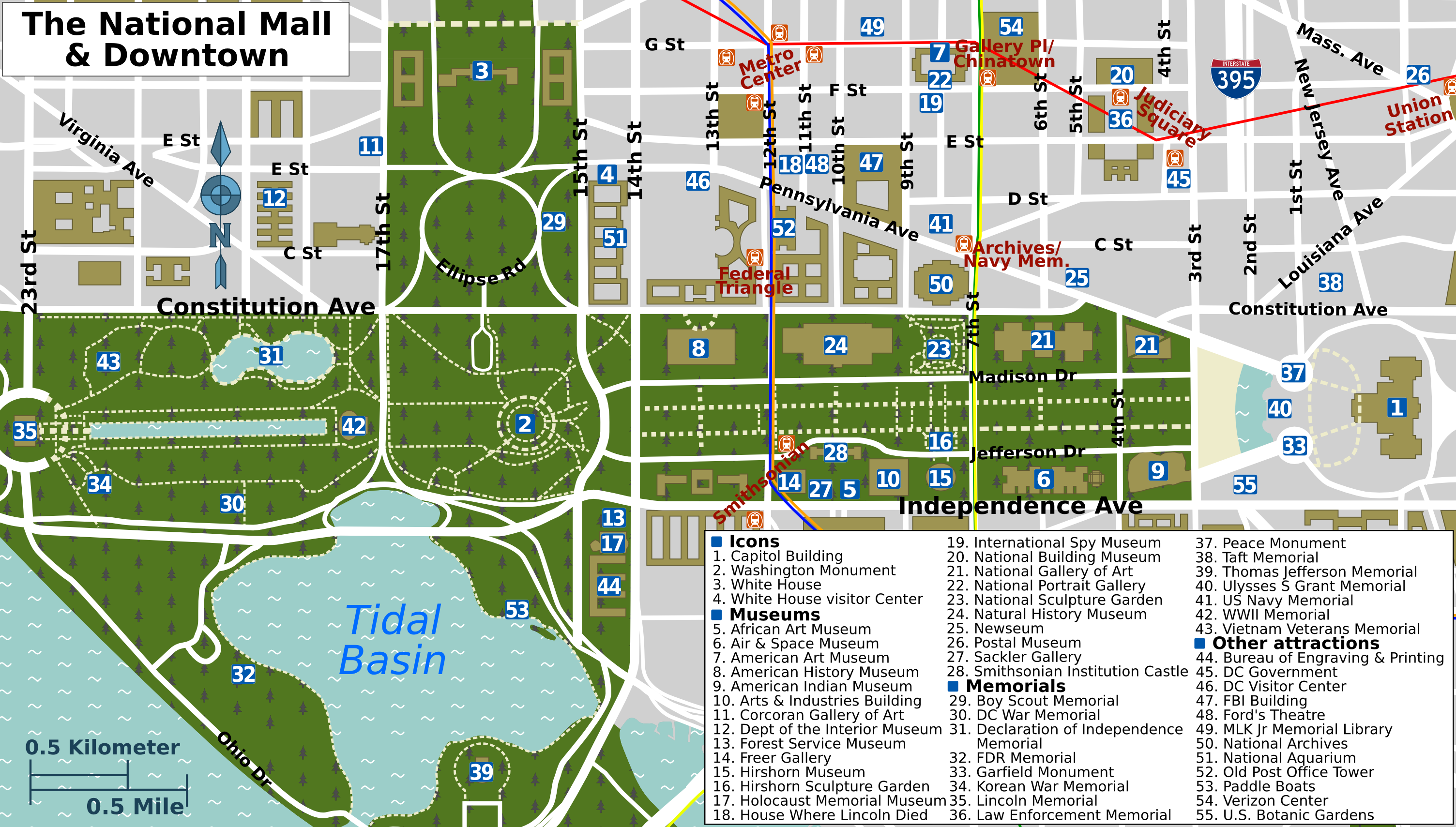 best large printable map of washington d  [ 3008 x 1709 Pixel ]