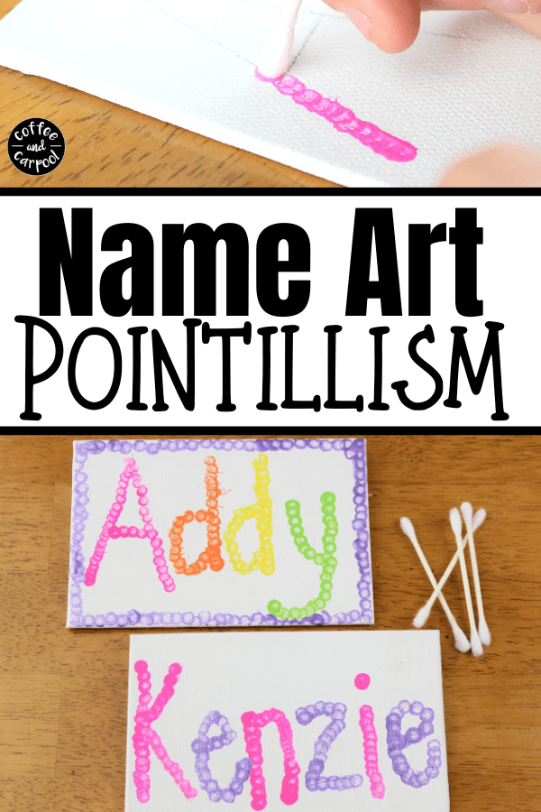 How To Make Name Art With Pointillism Kindergarten Art Lessons Name Art Projects Preschool Art Projects