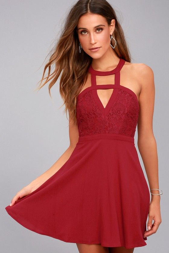 ee4813b4402f The All My Daydreams Wine Red Lace Skater Dress is cuter than we could have  ever imagined! A strappy cutout neckline tops this flirty skater dress, ...