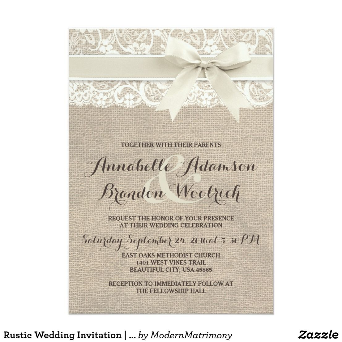 Rustic Wedding Invitation | Burlap Lace Bow Look