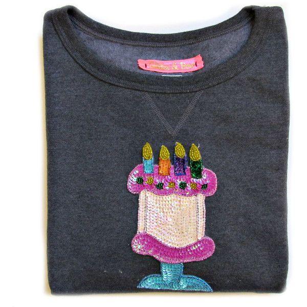 Birthday Cake Emoji Sequined Dark Gray Short Sleeve Comf Sweatshirt ($48) ❤ liked on Polyvore featuring tops, hoodies, sweatshirts, dark olive, sweaters, women's clothing, night out tops, sweatshirts hoodies, sequin short sleeve top and holiday party tops