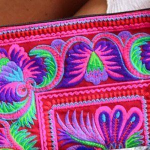Red Embroidery Bird Motif Flowers Tribal Boho Hmon