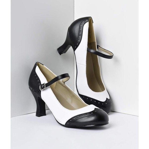973ea504714 Black   White Mary Jane Kitten Spectator Heels Shoes ( 44) ❤ liked on  Polyvore featuring shoes
