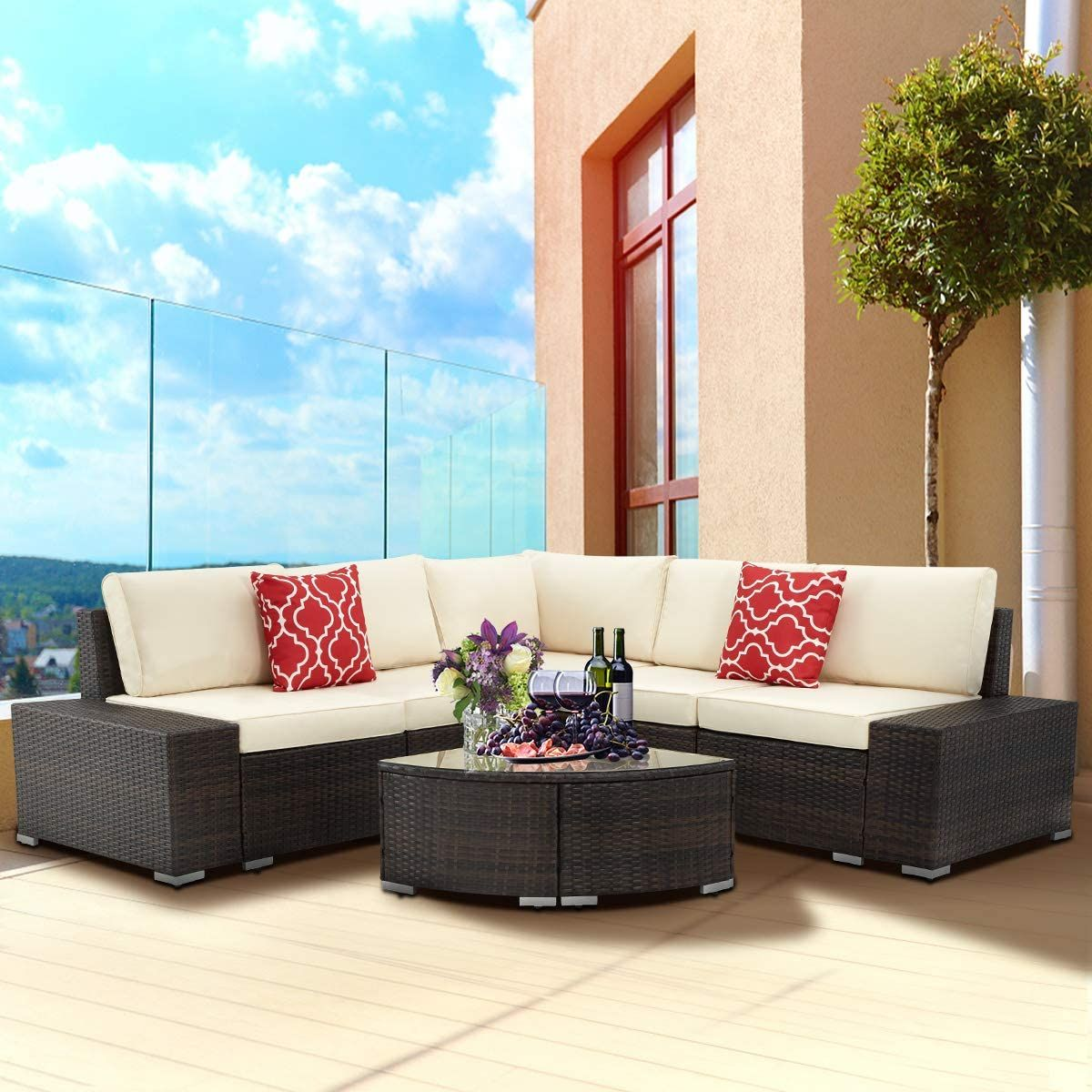 6 Piece Outdoor Patio Furniture Set Pe Rattan All Weather Wicker Sofa Set Ou In 2020 Outdoor Sectional Furniture Outdoor Patio Furniture Sets Outdoor Patio Furniture