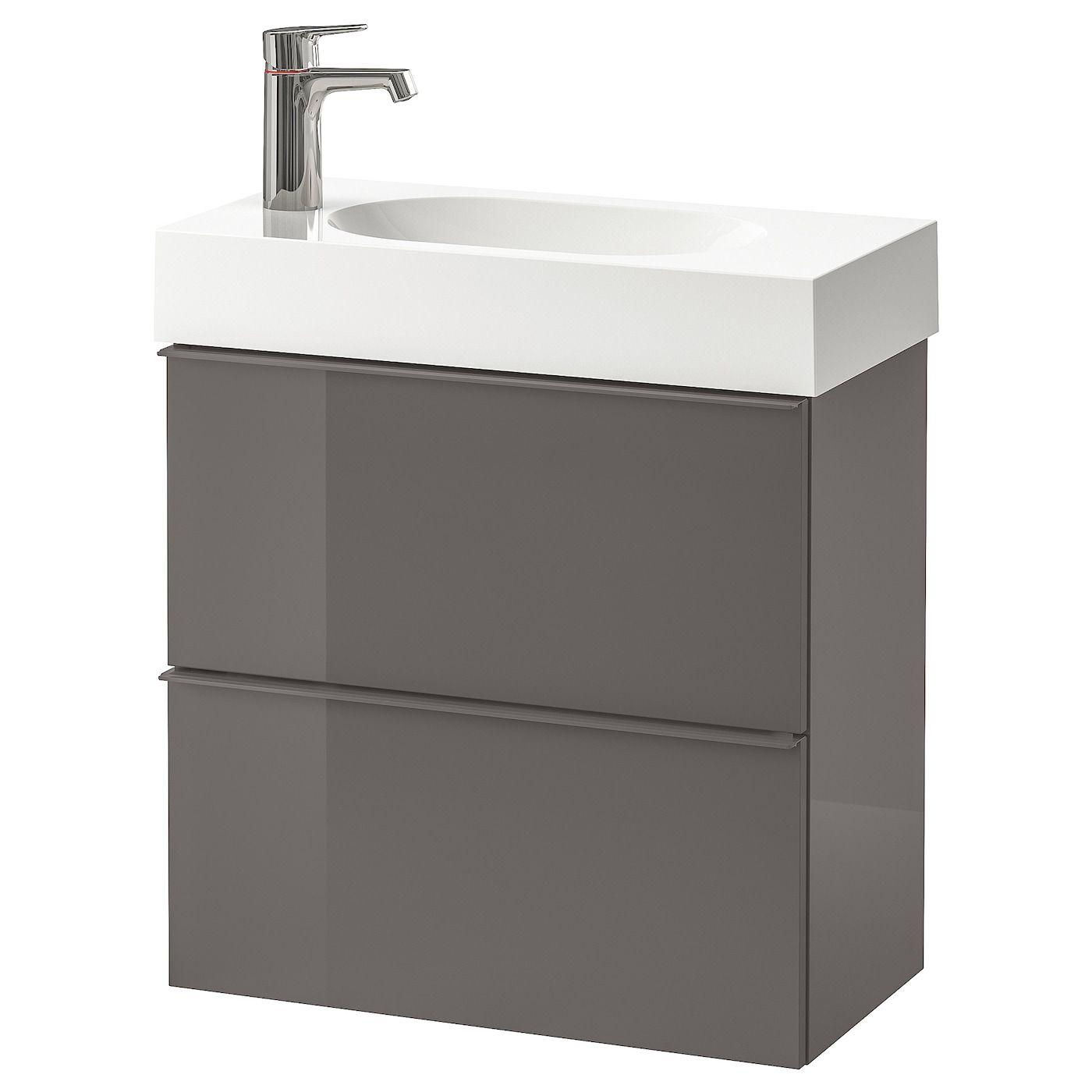 Godmorgon Braviken Meuble Lavabo 2tir Brillant Gris Mitigeur Lavabo Brogrund 62x33x68 Cm In 2020 Wash Stand Ikea Drawers