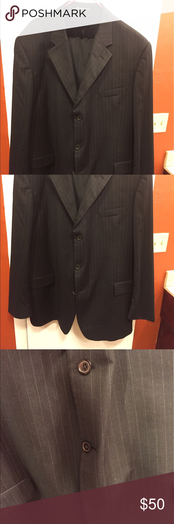 Men's 50 L suit Black striped  suit. 50L. Andrew Freeza Suits & Blazers Suits