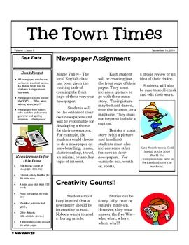 Expository Writing Newspaper Article Writing Activity