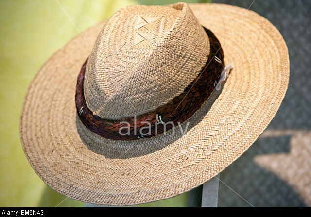 Hat woven of lauhala leaves is a fine craft in Hawaii. Stock Photo