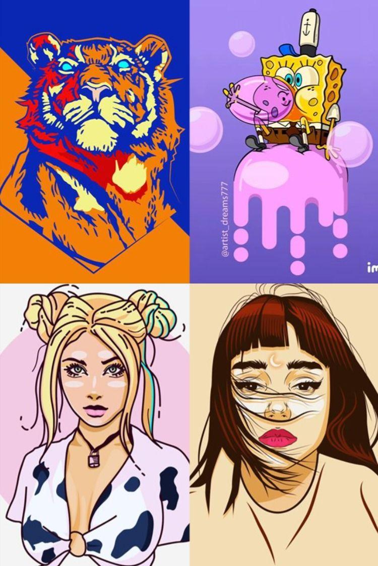 Pin di cartoon art vector illustration design