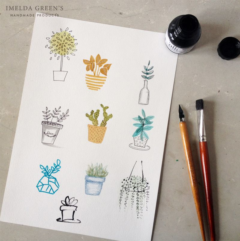 study of plants in watercolor and other mediums