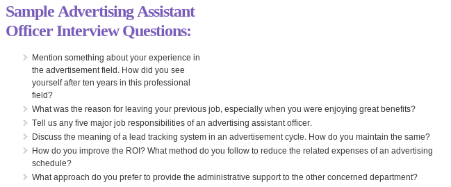 Sample Advertising Assistant Officer Interview Questions Read