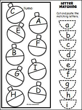 Christmas Uppercase Lowercase Cut Paste Activity (A-H
