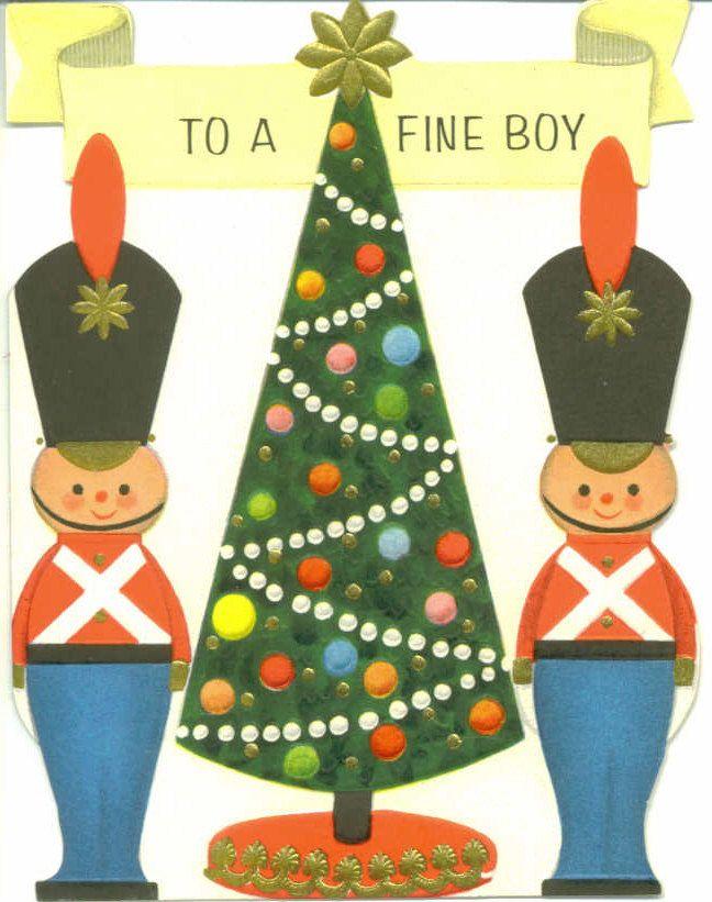 Vintage Hallmark Christmas Card, Toy Soldiers, To A Fine Boy, Unused ...