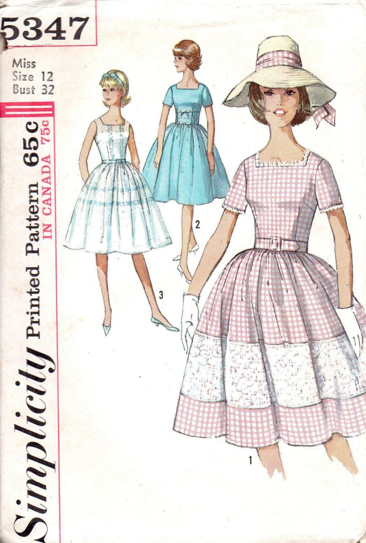 Simplicity Sewing Pattern 5347 Tea Garden Party Dress 1960s Full ...