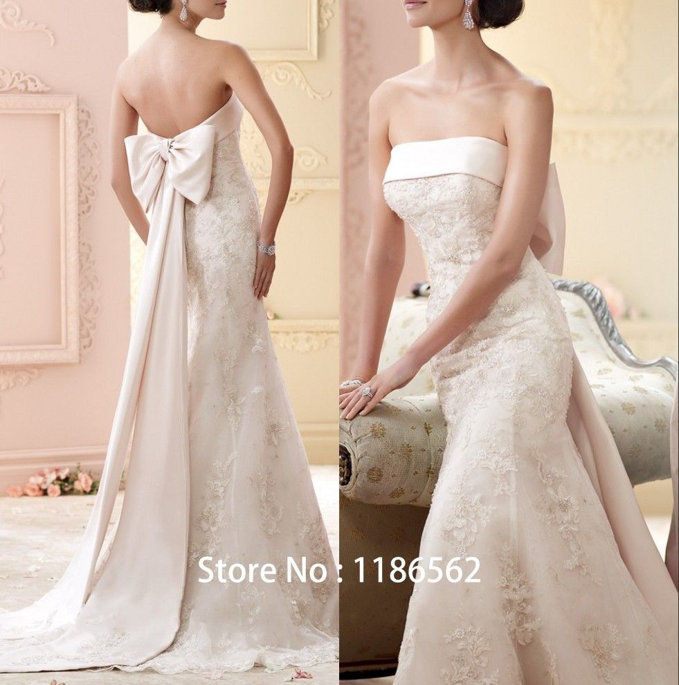New Style Mermaid Style Strapless Lace with Beading Court Train ...