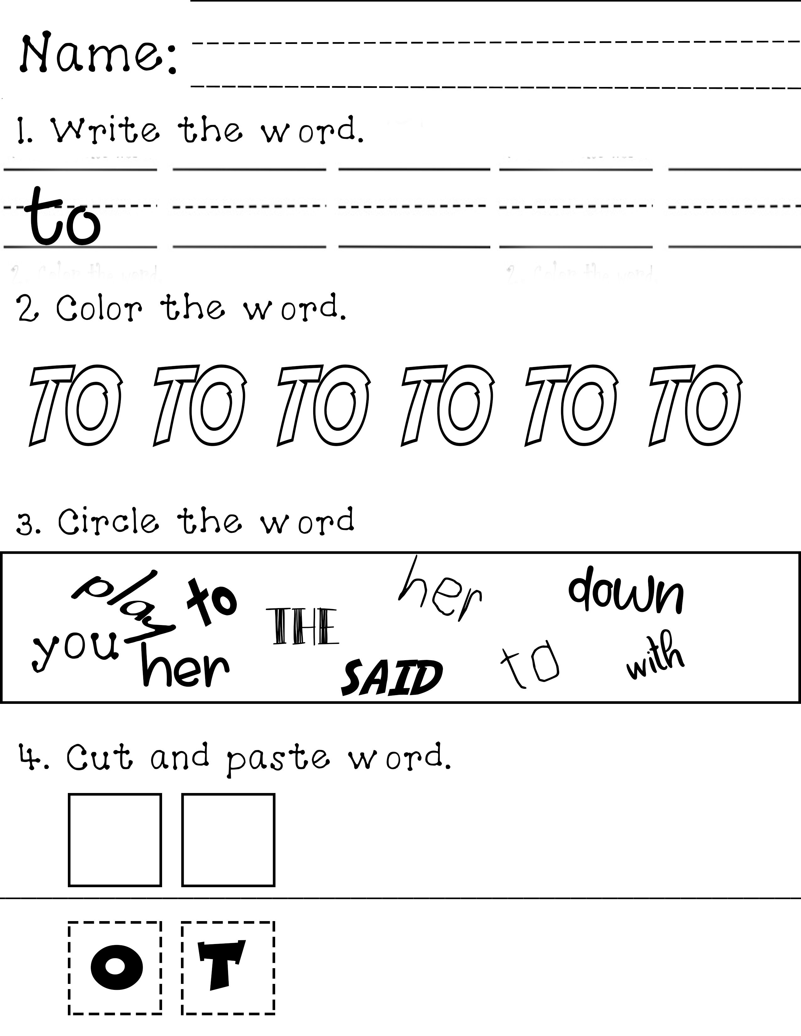 To Sight Word Words Sight Words Writing