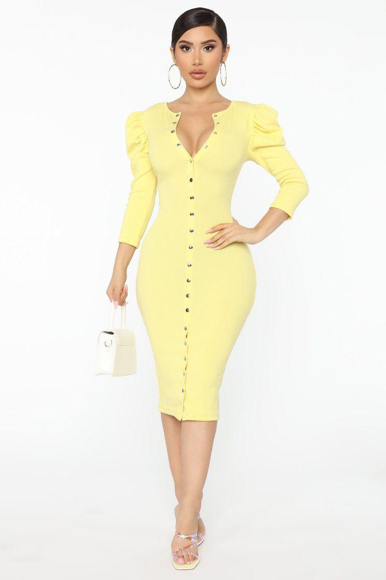 High Ratings Ribbed Midi Dress Yellow In 2020 Ribbed Midi Dress Yellow Midi Dress Dresses
