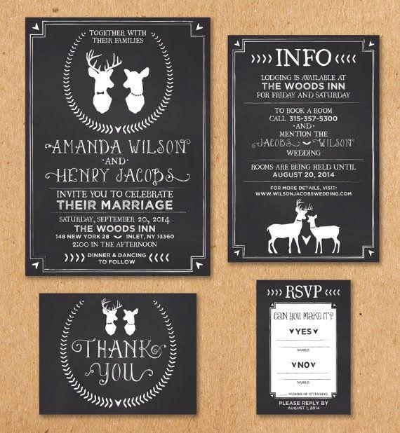 oh deer wedding invitation set chalkboard invitation printable invitation 5x7 info card 4x6. Black Bedroom Furniture Sets. Home Design Ideas