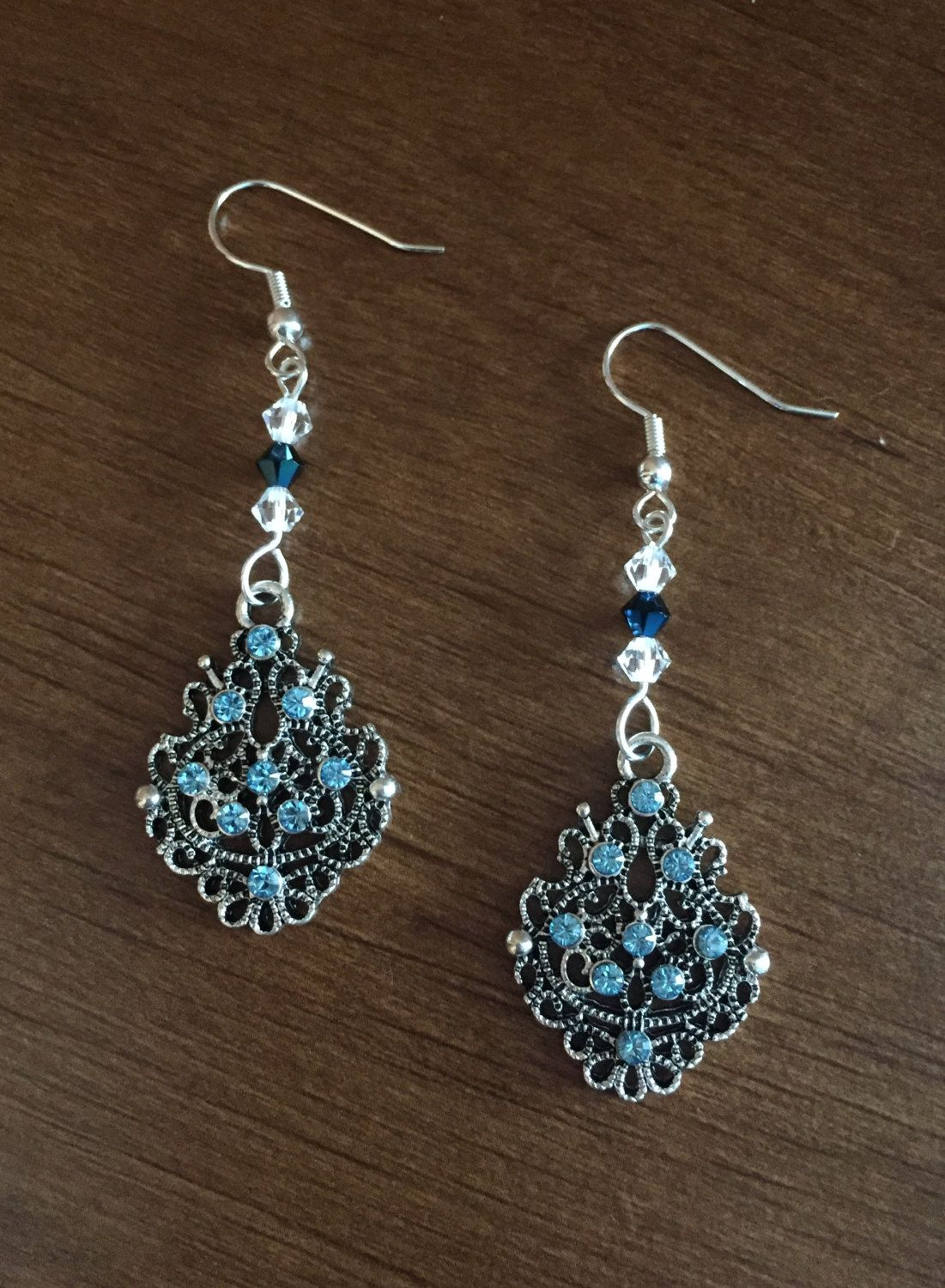 Chandelier silver earrings with blue and crystal beads swarovski chandelier silver earrings with blue and crystal beads swarovski elements chandelier dangle earrings silver aloadofball Image collections