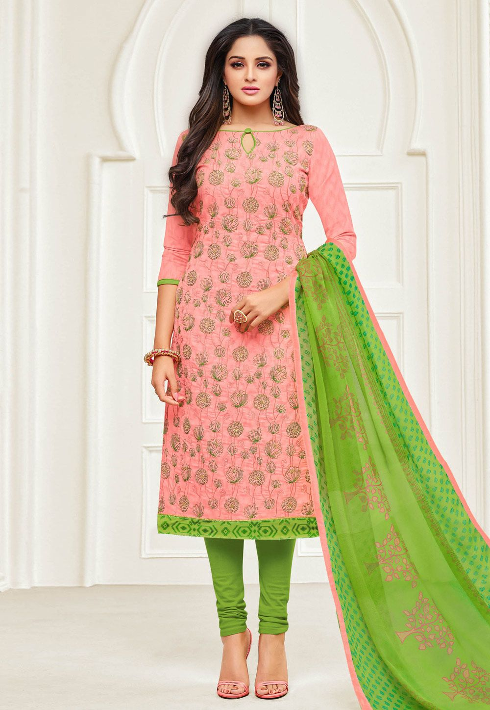 0d2ce360c9 Buy Light Pink Jacquard Churidar Salwar Kameez 154082 online at lowest  price from huge collection of salwar kameez at Indianclothstore.com.