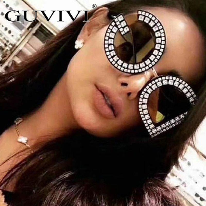 b1358f53c11 GUVIVI Diamond D And G Round Sunglasses Women 2018 New Luxury Brand  Designer Ladies Shades Square DG Sunglasses For Female UV400