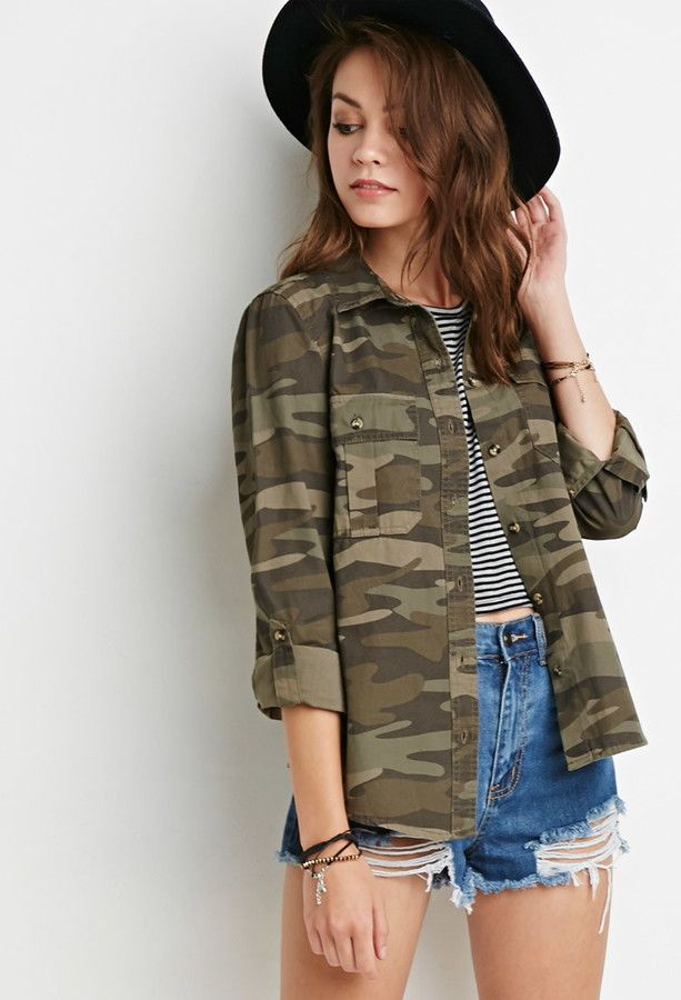 MILITARY ARMY URBAN VINTAGE SHIRT JACKET CAMOUFLAGE CAMO LADIES WOMENS