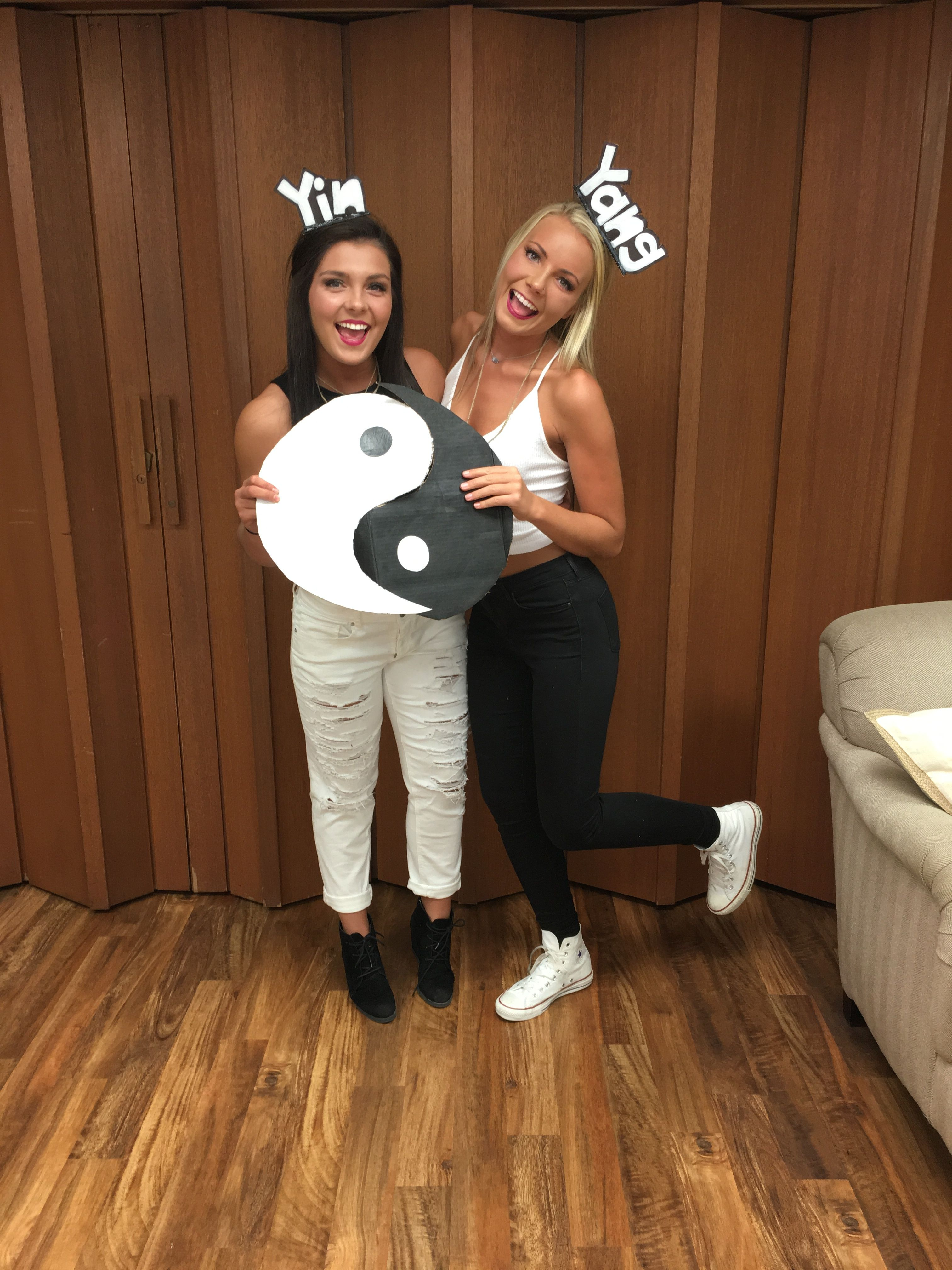Yin and Yang halloween costume idea! We wore cardboard cutouts as
