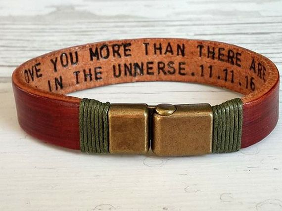 Personalized Leather Men Bracelet,Women Men Bracelet, Hidden Message Bracelet Secret Word, Engraved Leather Bracelet