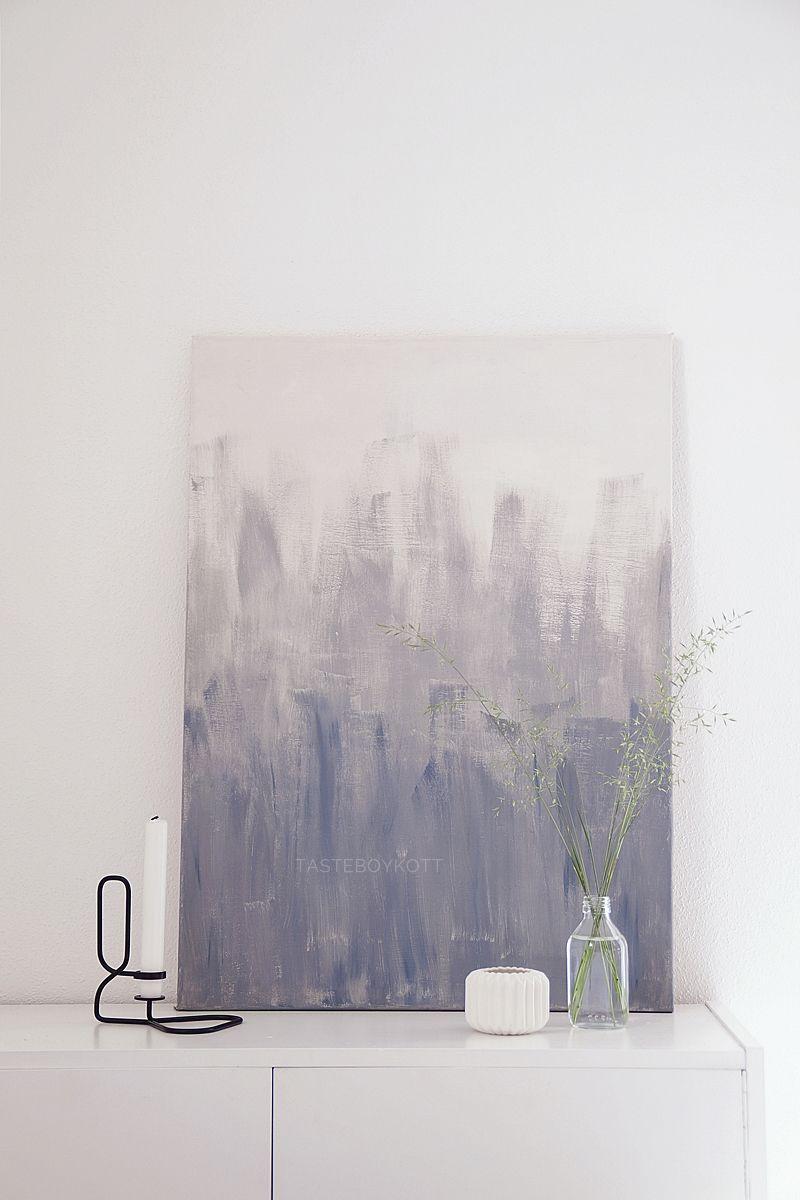 DIY Ombre Leinwand Malerei Kunst In Grau Weiß Als Skandinavisch Moderne  Wanddeko Günstig Und