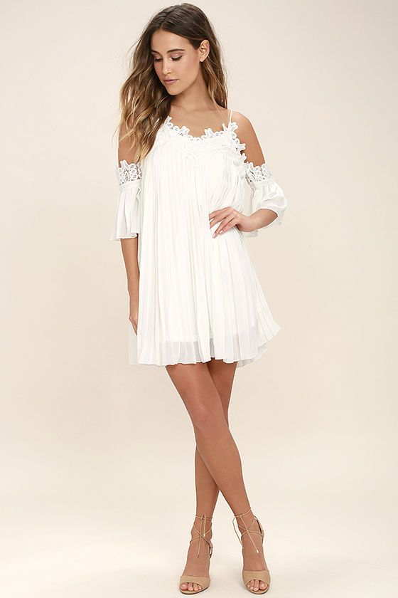 bf5e97ffd459 We're so grateful the Give Thanks White Lace Off-the-Shoulder Dress came  into our lives! Pleated chiffon flows from a crochet lace off-the-shoulder  neckline ...