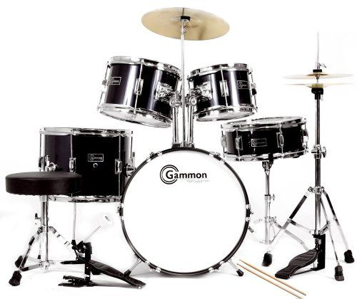 Complete 5-Piece Black Junior Drum Set with Cymbals Stands Sticks Hardware & Stool - http://www.kidstrument.com/drums-percussion/complete-5-piece-black-junior-drum-set-with-cymbals-stands-sticks-hardware-stool