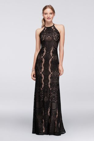 Graphic Lace Halter Dress With Keyhole Back Style 12333 Davids BridalFormal Evening DressesEvening