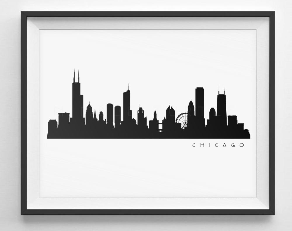 Chicago Skyline Silhouette Printable Skyline Pdf Png Etsy In 2020 Chicago Skyline Silhouette Skyline Silhouette Chicago Skyline