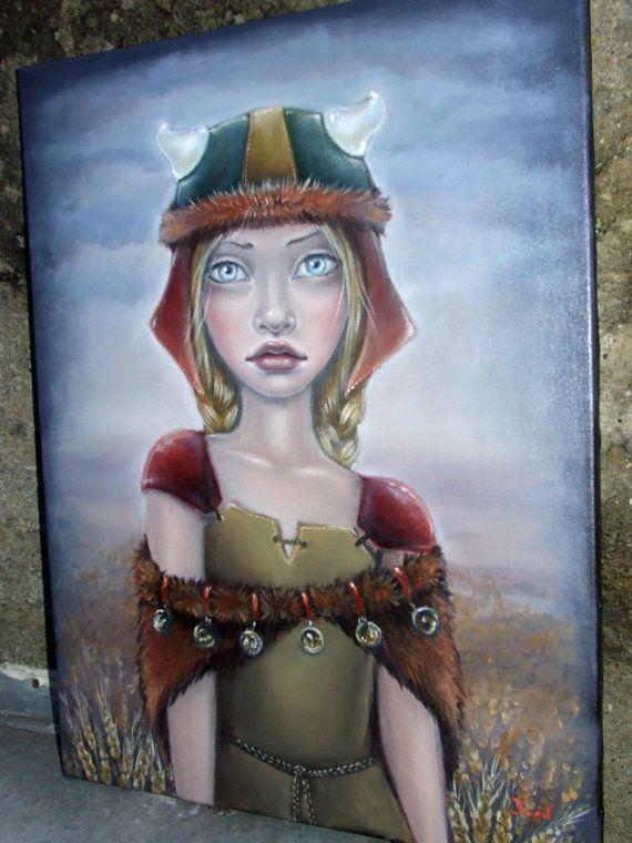 VIKING GIRL - ORIGINAL oil painting - surreal pop fantasy art - horns helmet gold - lowbrow portrait by Tanya Bond