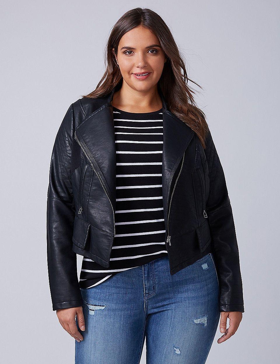 Seamed Faux Leather Moto Jacket Lane Bryant Faux
