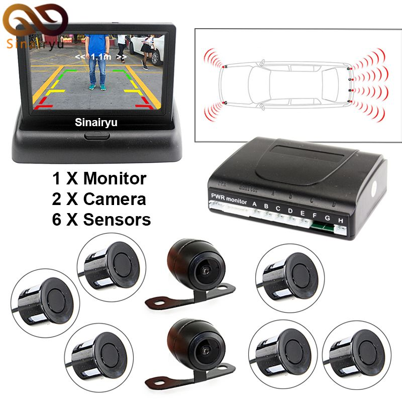 3 In 1 Car Video Parktronic Parking Assist System 6 Sensors