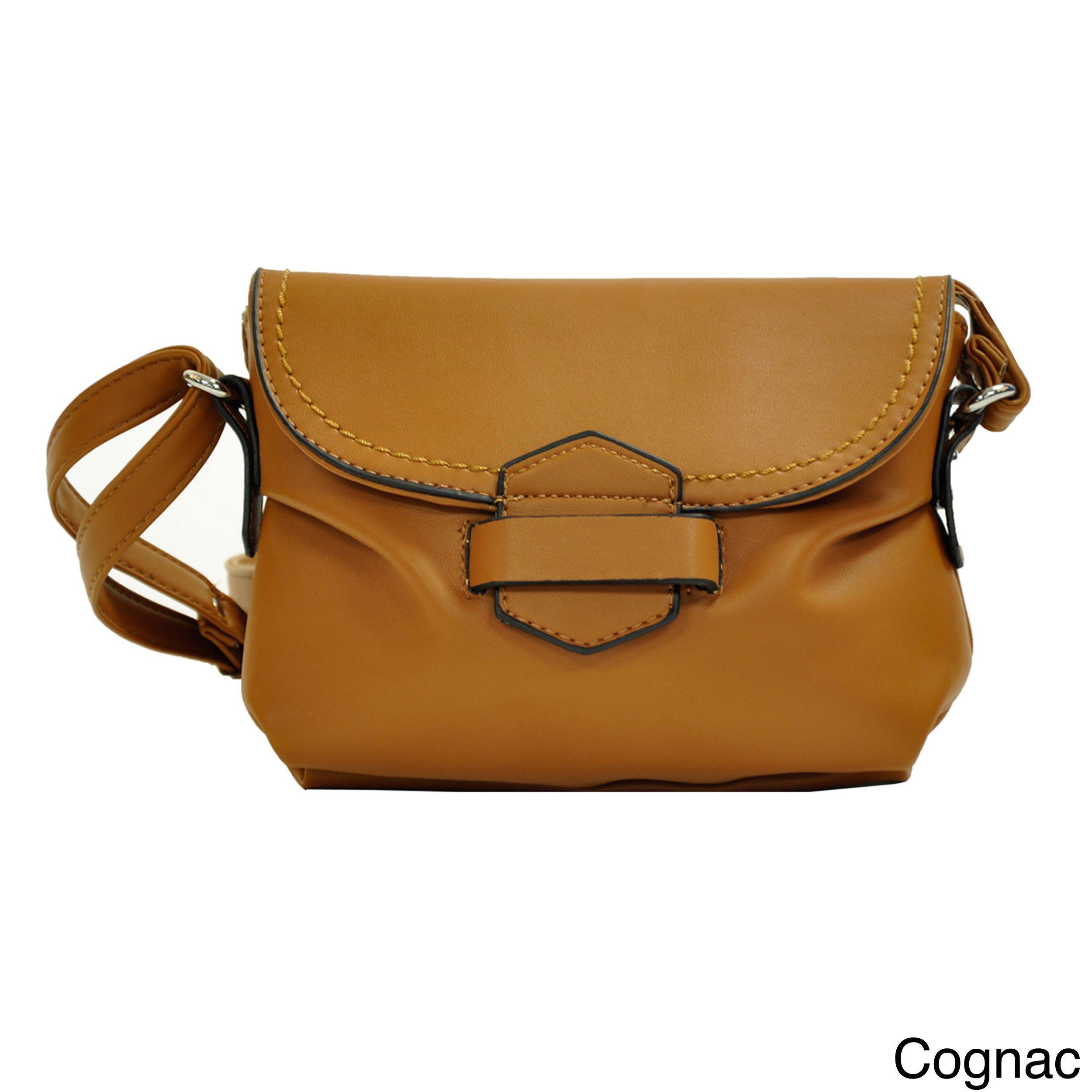 a57100a9897f MoDA Mini Faux Leather Crossbody Handbag (Cognac)