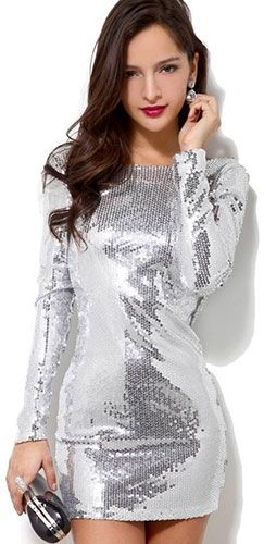 c4c14a96bbc Classic Silver Sequin Flowy Drape Back Long Sleeve Fitted Mini Dress Sexy