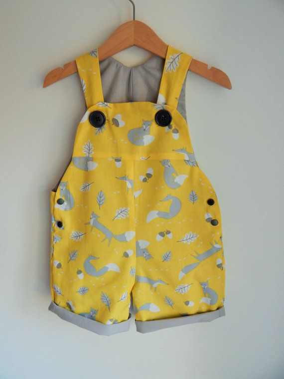 The Yellow Fox Short Dungaree/Romper/Overall -- Baby Toddler Sizes 0 ...