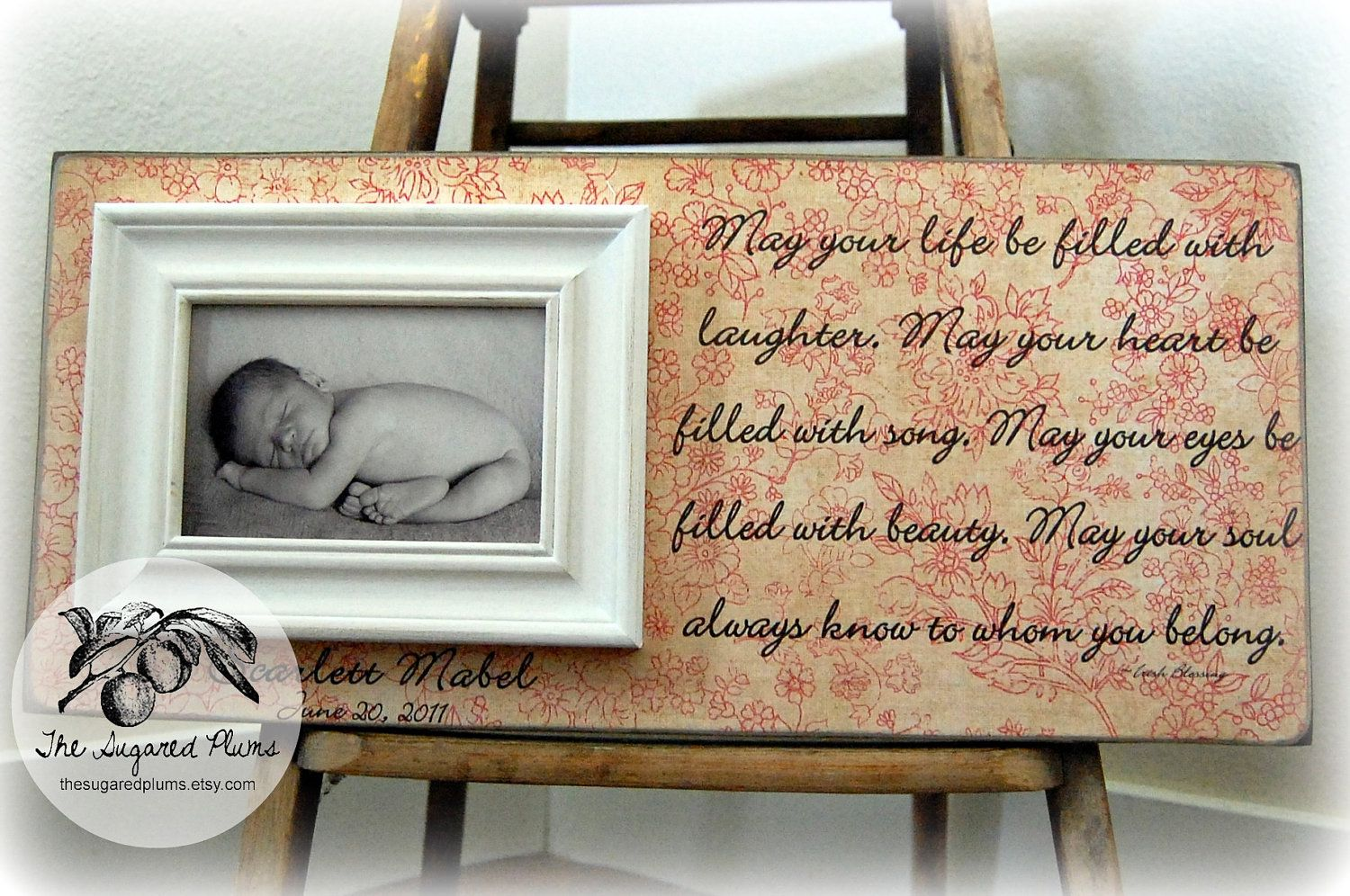 BABY PICTURE FRAME Personalized Custom Picture Frame 8x20 Baby Shower Dedication Baptism Christening First Birthday Gift Godparents 6500 Via Etsy
