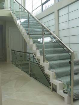 Glass Handrail Installed With Metal Components For Indoors