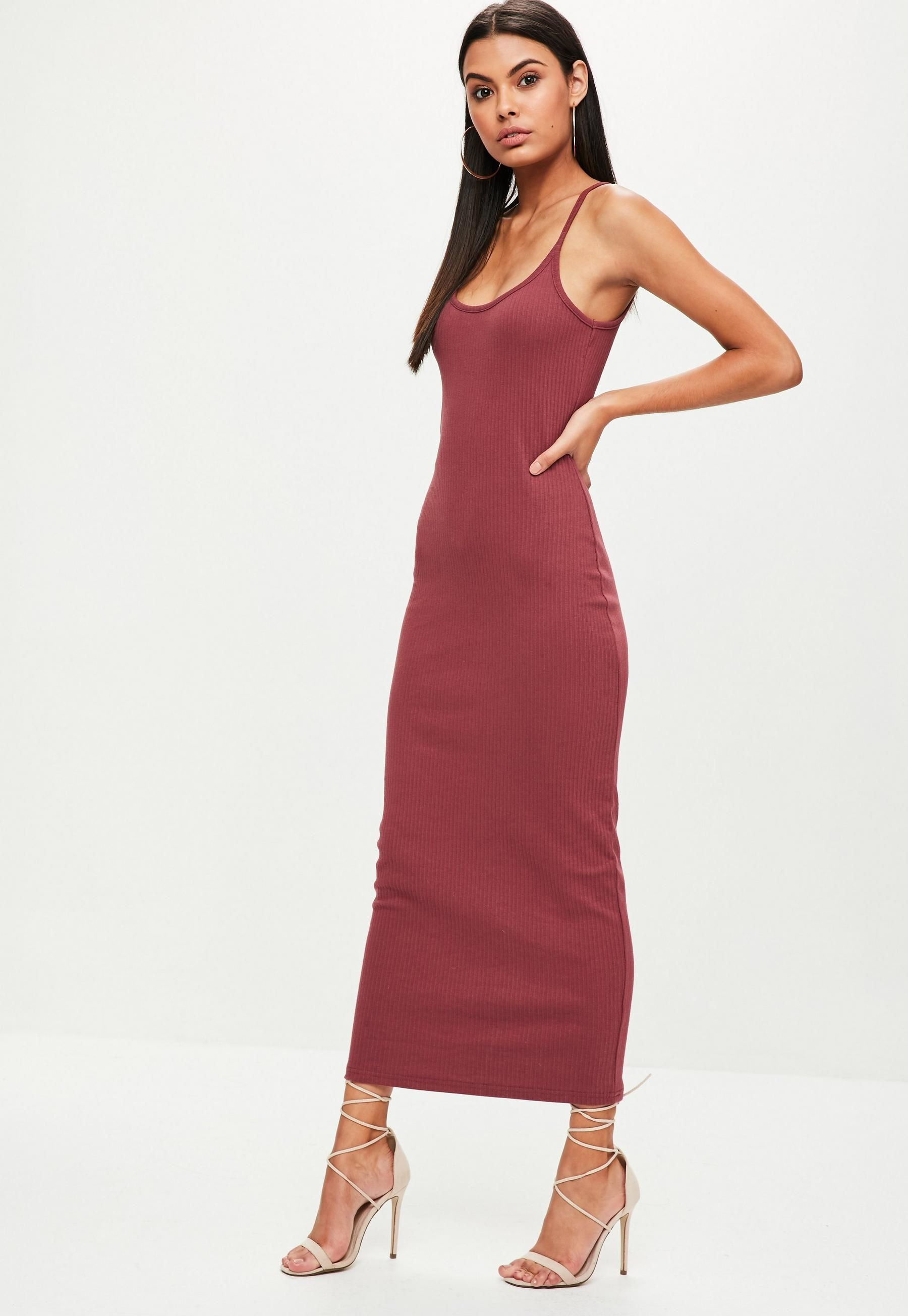96f3c969ced9 Missguided Burgundy Ribbed Strappy Midi Dress in 2019