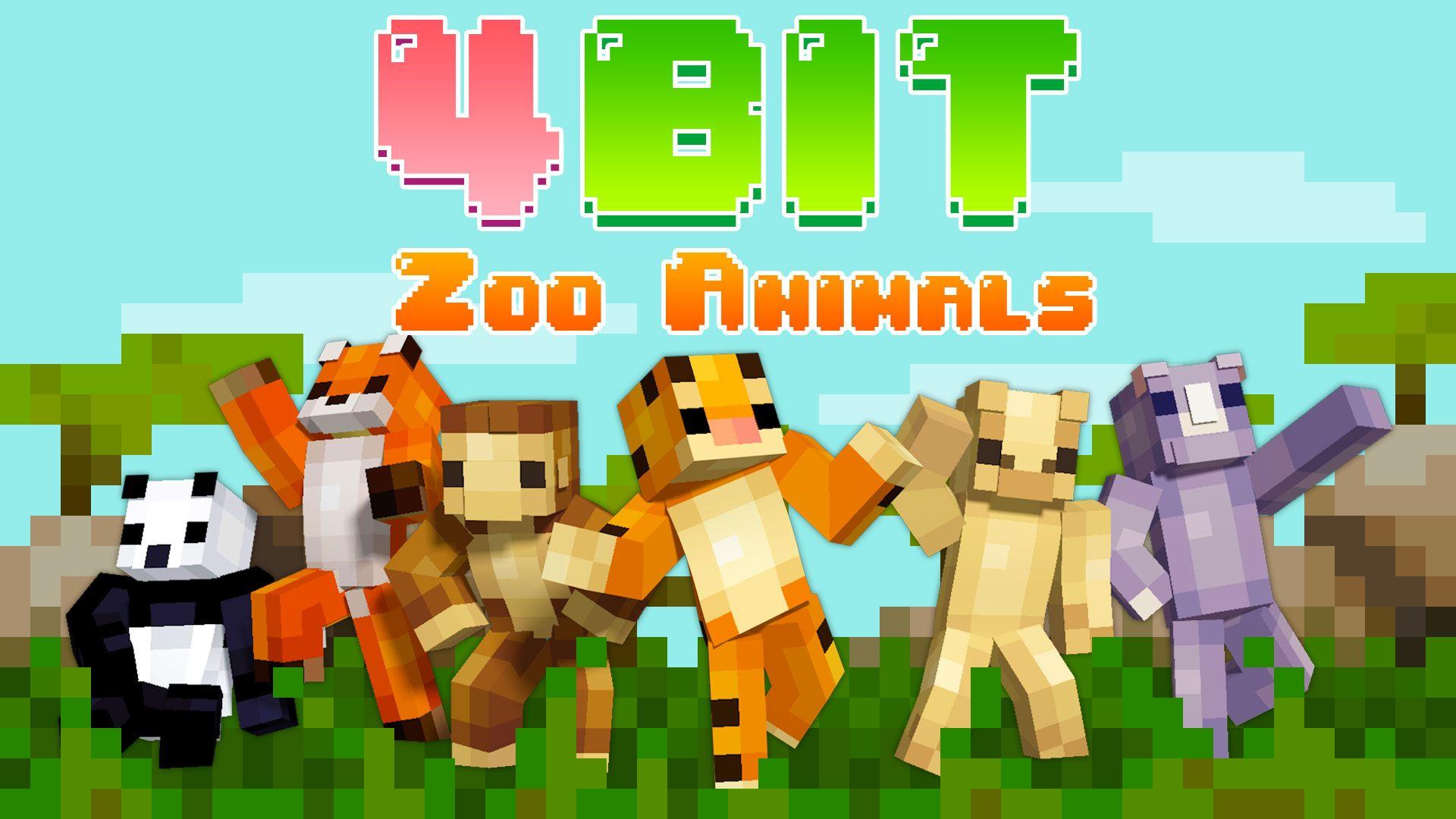 8BIT Zoo Animals  Minecraft Skin Pack  Zoo animals, Minecraft