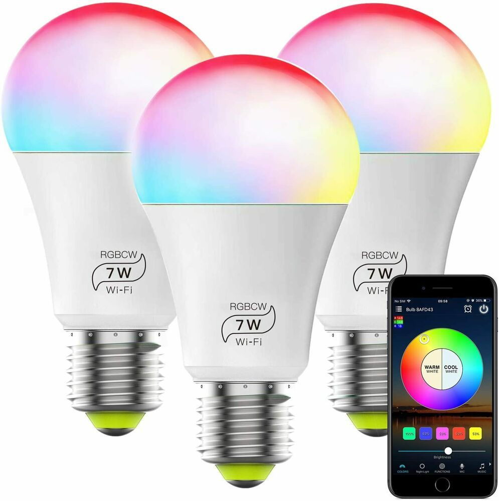 3 Smart Light Bulbs Dimmable Multicolor Wifi Compatible Alexa Google Home Ebay In 2020 Retaining Wall Smart Light Bulbs Smart Lighting