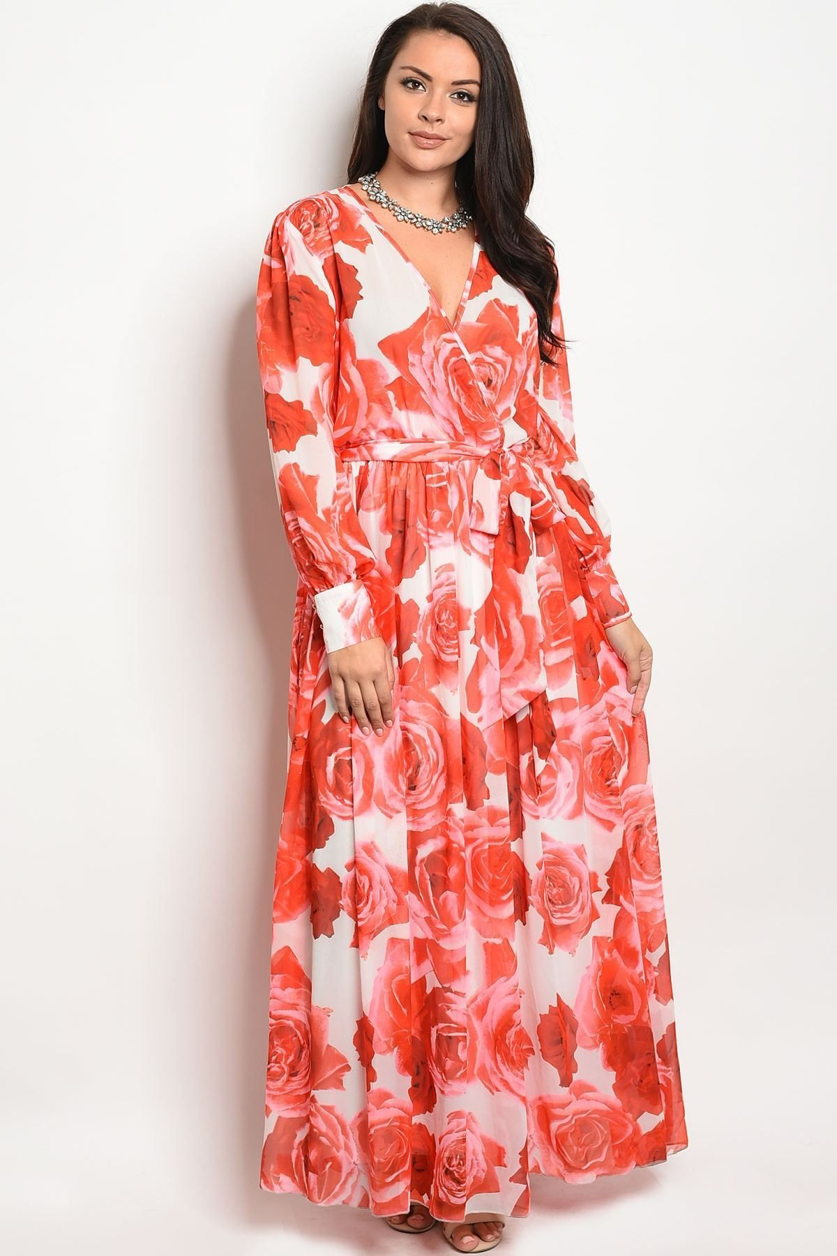 Ladies plus size long sleeve printed maxi dress products