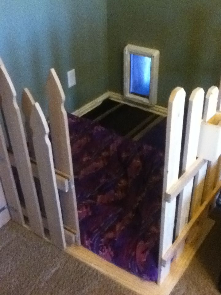 My grandaughter Morgan loved this doggy apartment idea! The doggy door leads right outside! :)
