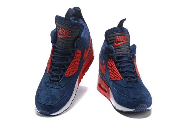 Nike Air Max 90 Sneakerboot Men's Running Shoes Dark BlueRed