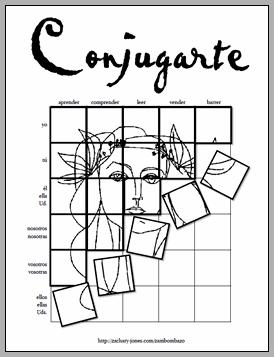 Conjugating Spanish verbs- art tiles @Eliana Soto I have