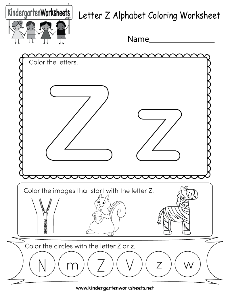 kindergarten letter z coloring worksheet printable improve letter worksheets for preschool. Black Bedroom Furniture Sets. Home Design Ideas
