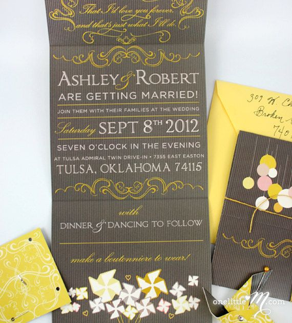 Beaumont  Wedding Invitation with DIY Pinwheels for by oneLittleM, $6.00